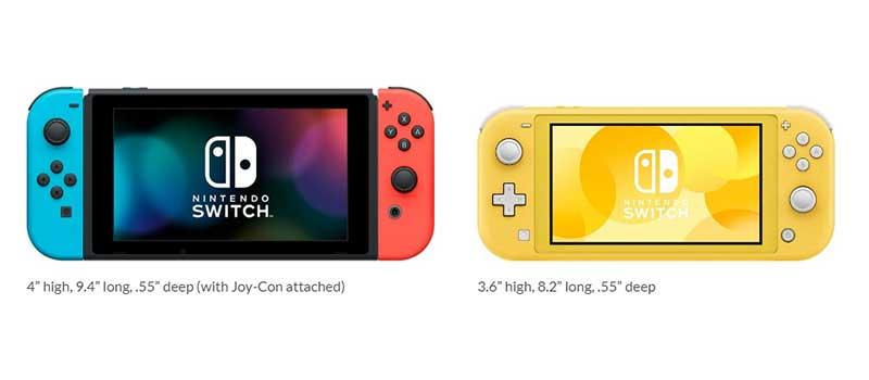 Beda Nintendo Switch dengan Switch Lite pada ukuran